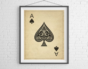 Ace of Spades, Playing Card Art, Game Room Decor, Game Room Art, Poker Gifts, Gambling Gift, Office Wall Art, Man Cave Art, Bar Decor