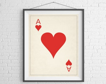 Ace of Hearts, Playing Card Art, Game Room Decor, Game Room Art, Poker Gifts, Gambling Gift, Office Wall Art, Man Cave Art, Bar Decor