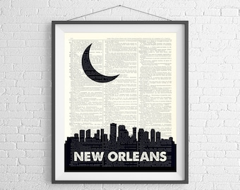 New Orleans Skyline Print, New Orleans Prints, Skyline Wall Art, Dictionary Art Print, City Skyline Art, New Orleans Art, New Orleans Gift