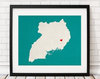 Custom Uganda Silhouette Print, Customized Country Map Art, Personalized Gift, Uganda Art, Uganda Print, Heart Map, Uganda Map, Home Country