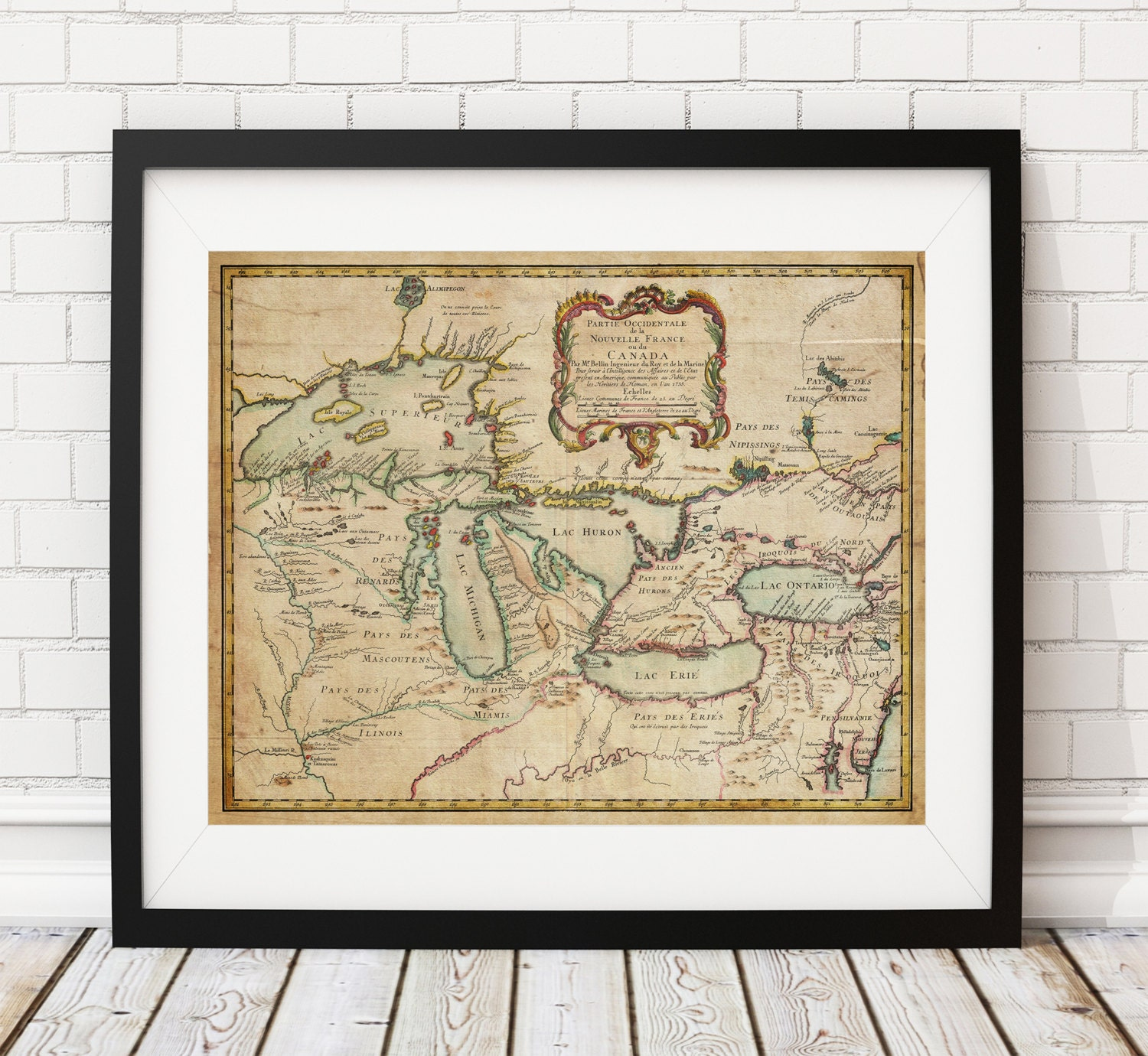Great Lakes Map Print Canada Map New France Map Vintage Map - Old map of canada