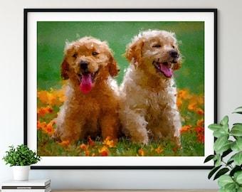 Yellow Lab Puppies Print, Yellow Labrador Art, Lab Puppy Gifts, Dog Portrait, Pet Oil Painting, Dog Lover Gift, Dog Decor, Dog Mom Artwork