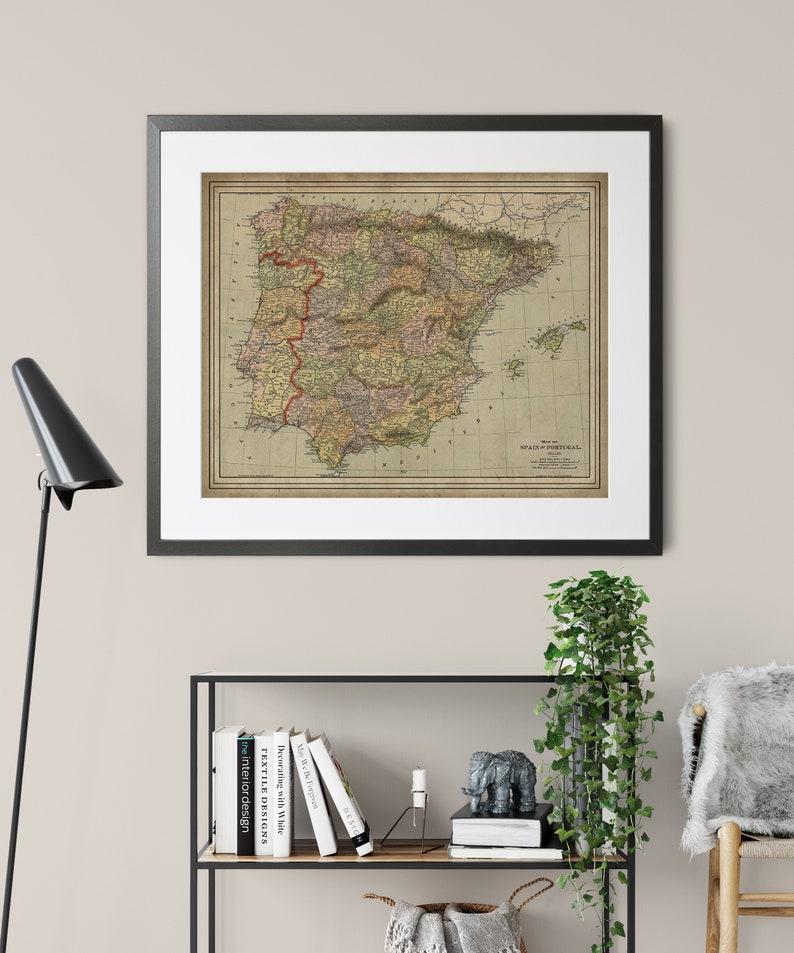 1897 Espagne Carte Portugal Carte vintage Map Art Antique   Etsy