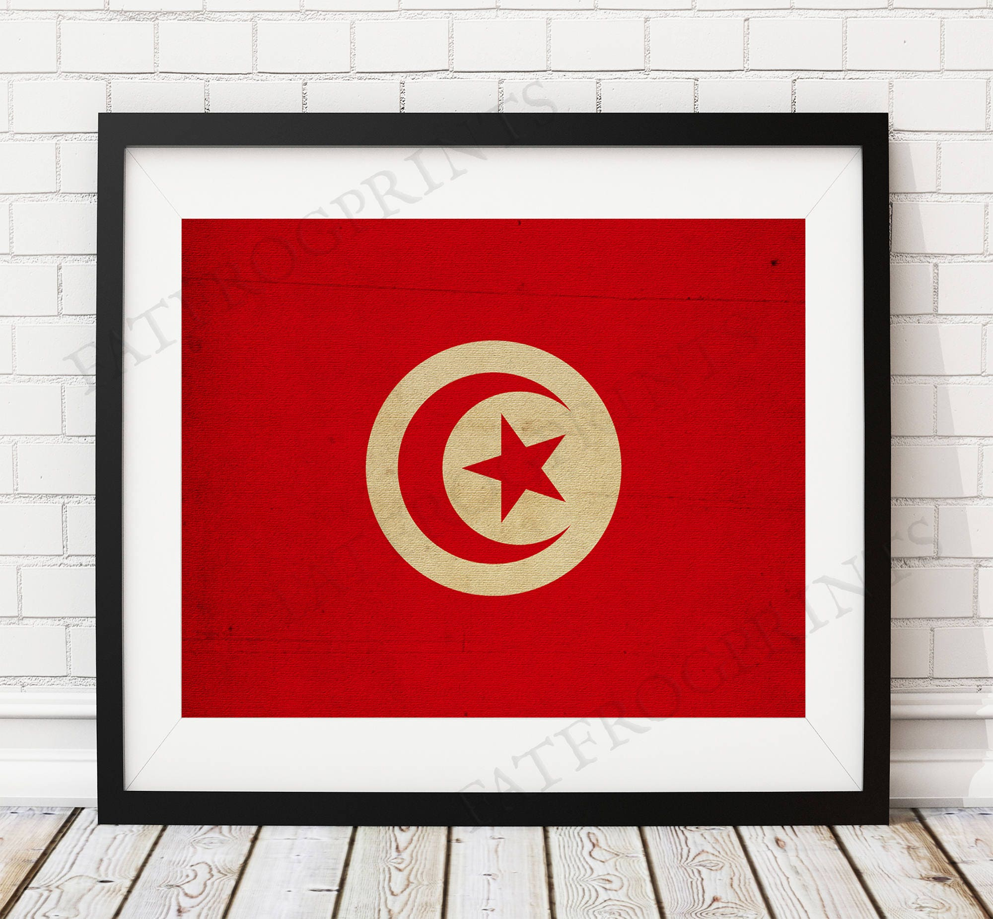 Tunesien Fahne Druck Tunesien Flagge Kunst Tunesien | Etsy