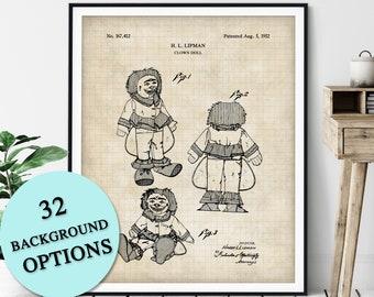 Clown Doll Patent Print - Customizable Clown Blueprint Plan, Vintage Circus Poster, Kids Room Wall Decor, Carnival Art, State Fair Wall Art