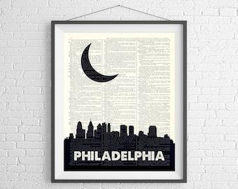 Philadelphia Skyline Print, Philadelphia Print, Skyline Wall Art, Dictionary Art Print, Philadelphia Wall Art, Skyline Art, Philadelphia Art