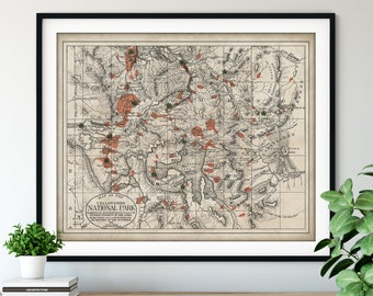 1881 Yellowstone National Park Map Print, Vintage Yellowstone Map Art, Antique Wyoming Map, Old Map, Yellowstone Poster, Wyoming Map, Gift