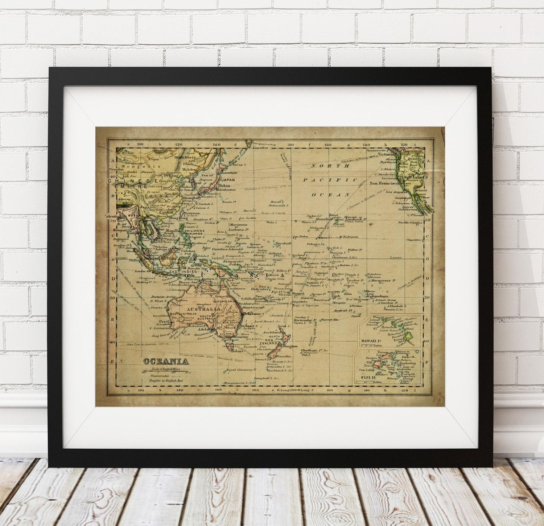 1899 Oceania Map Print, Vintage Map Art, Antique Map, Australia Map ...