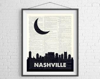 Nashville Skyline Print, Nashville Prints, Nashville Skyline Wall Art, Dictionary Art Print, Nashville Art, Skyline Art, Nashville Wall Art