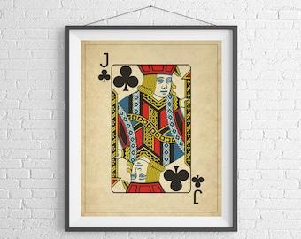 Jack of Clubs, Playing Card Art, Game Room Decor, Game Room Art, Poker Gifts, Gambling Gift, Vintage Wall Art, Man Cave Art, Bar Decor