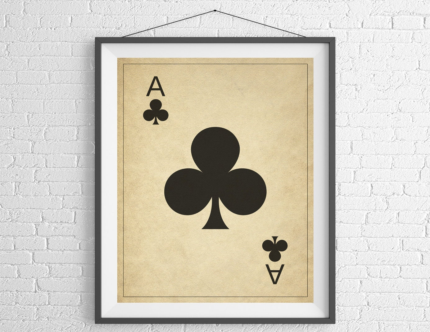 Ace of Clubs, Playing Card Art, Game Room Decor, Game Room Art ...