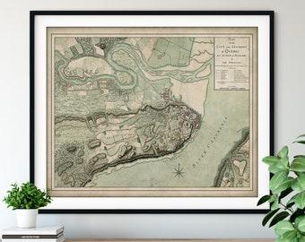 1776 Quebec City Map Print, Vintage Map Art, Antique Map, Wall Art, Old Maps, Quebec Print, Quebec Art, Quebec Canada Gifts, Quebec City Map