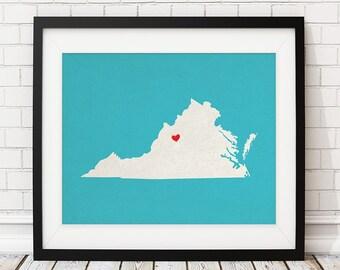 Custom Virginia State Art, Customized State Map Art, Personalized Gift, Virginia Art, VA Heart Map, Virginia Map, Virginia Print