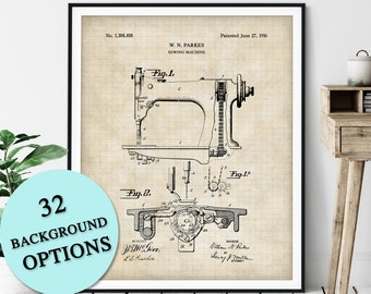 Sewing Machine Patent Print - Customizable Blueprint Plan, Fashion Designer Gift, Dressmaker Art, Seamstress Wall Decor, Tailor Gift
