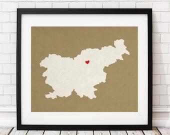 Custom Slovenia Silhouette Print, Customized Country Map Art, Personalized Gift, Slovenia Print, Heart Map, Slovenia Map, Home Country Love