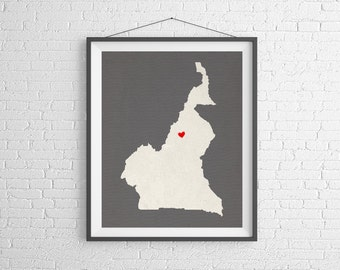 Custom Cameroon Silhouette Print, Customized Country Map Art, Personalized Gift, Cameroon Print, Heart Map, Cameroon Map, Home Country Love