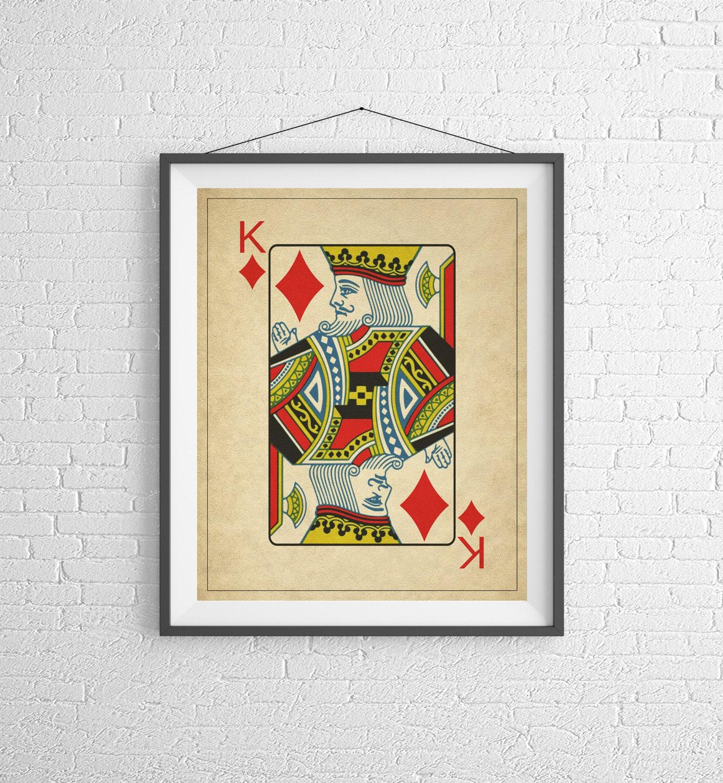 King of Diamonds, Playing Card Art, Game Room Decor, Game Room Art ...