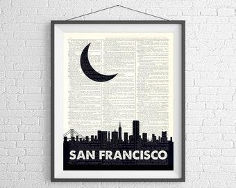 San Francisco Skyline Print, San Francisco Print, Skyline Wall Art, Dictionary Art Print, San Francisco Gift, Skyline Art, San Francisco Art