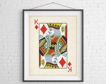 King of Diamonds, Playing Card Art, Game Room Decor, Game Room Art, Poker Gifts, Gambling Gift, Office Wall Art, Man Cave Art, Bar Decor