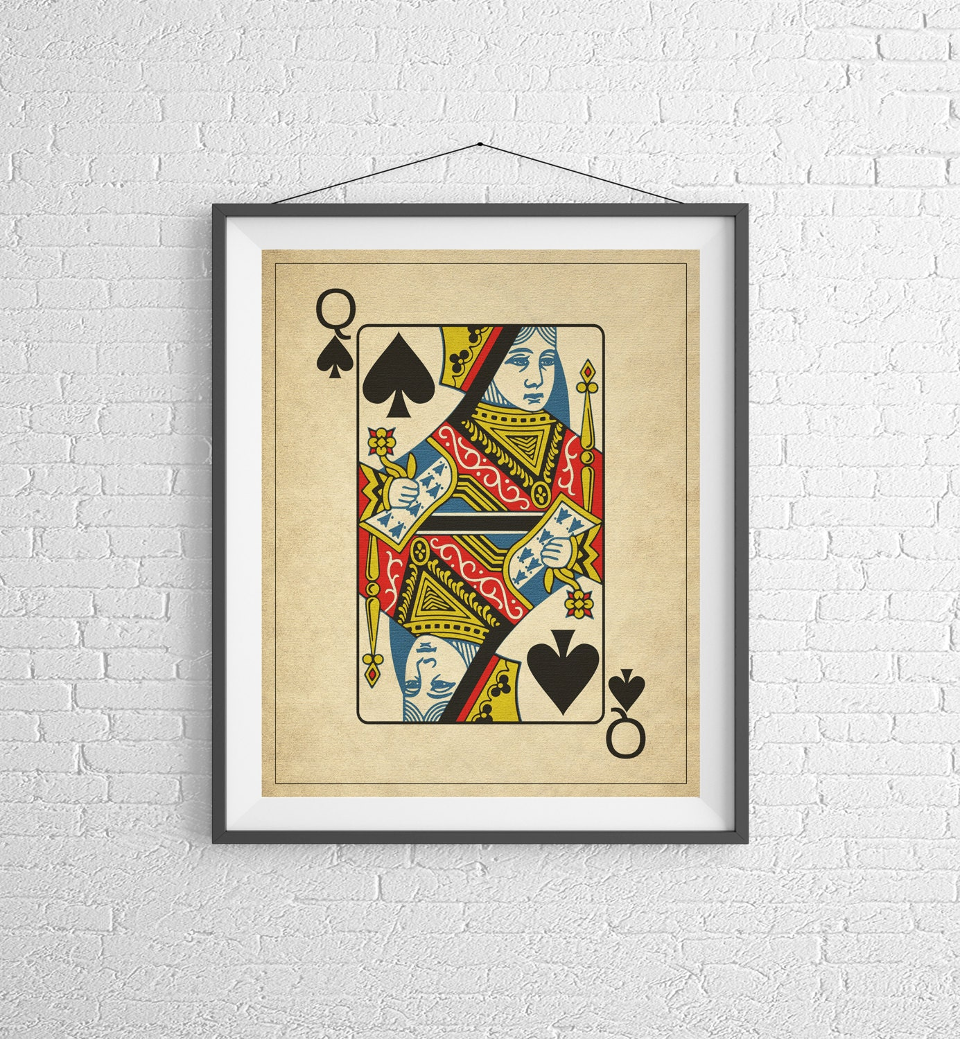 Queen of Spades, Playing Card Art, Game Room Decor, Game Room Art ...