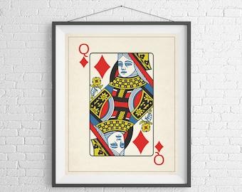 Queen of Diamonds, Playing Card Art, Game Room Decor, Game Room Art, Poker Gifts, Gambling Gift, Vintage Wall Art, Man Cave Art, Bar Decor