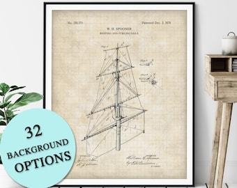 Sailboat Sails Patent Print - Customizable Nautical Blueprint, Sailboat Plan, Sailor Gift, Sailing Poster, Coastal Art, Maritime Wall Decor