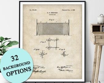 Tennis Net Patent Print - Customizable Tennis Blueprint Plan, Tennis Player Gift, Tennis Art Poster, Home Gym Wall Decor, Game Room Art