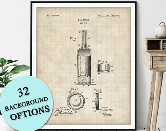 Bottle Patent Print - Customizable Wine Bottle Patent, Wine Gift, Liquor Poster, Bar Cart Decor, Beer Art, Champagne, Rum, Vodka, Whiskey
