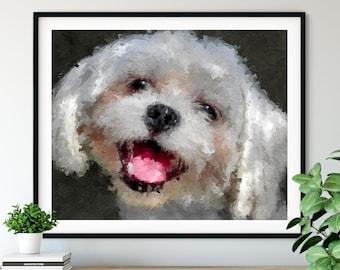 Maltese Print, Maltese Art, Maltese Gifts, Dog Portrait, Cute Pet Oil Painting, Dog Lover Gift, Dog Decor, Dog Mom Wall Art, Living Room