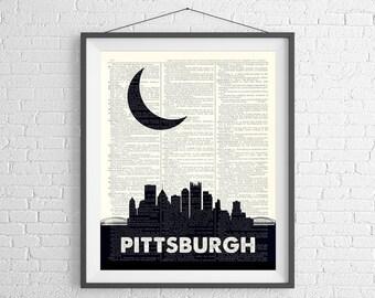 Pittsburgh Skyline Print, Pittsburgh Wall Art, Skyline Wall Art, Dictionary Art Print, City Skyline Art, Pittsburgh Art, Pittsburgh Gifts