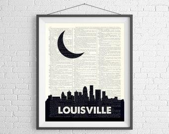 Louisville Skyline Print, Louisville KY Prints, Skyline Wall Art, Dictionary Art Print, City Prints, City Skyline Art, Louisville Art