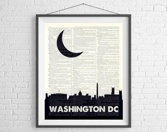 Washington DC Skyline Print, Washington DC Print, Skyline Wall Art, Dictionary Art Print, Washington DC Gift, Skyline Art, Washington Dc Art