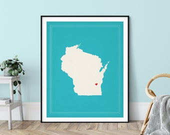 Custom Wisconsin State Art, Customized State Map Art, Personalized Gift, Wisconsin Art, Heart Map, Wisconsin Map, Love Map, Wisconsin Print