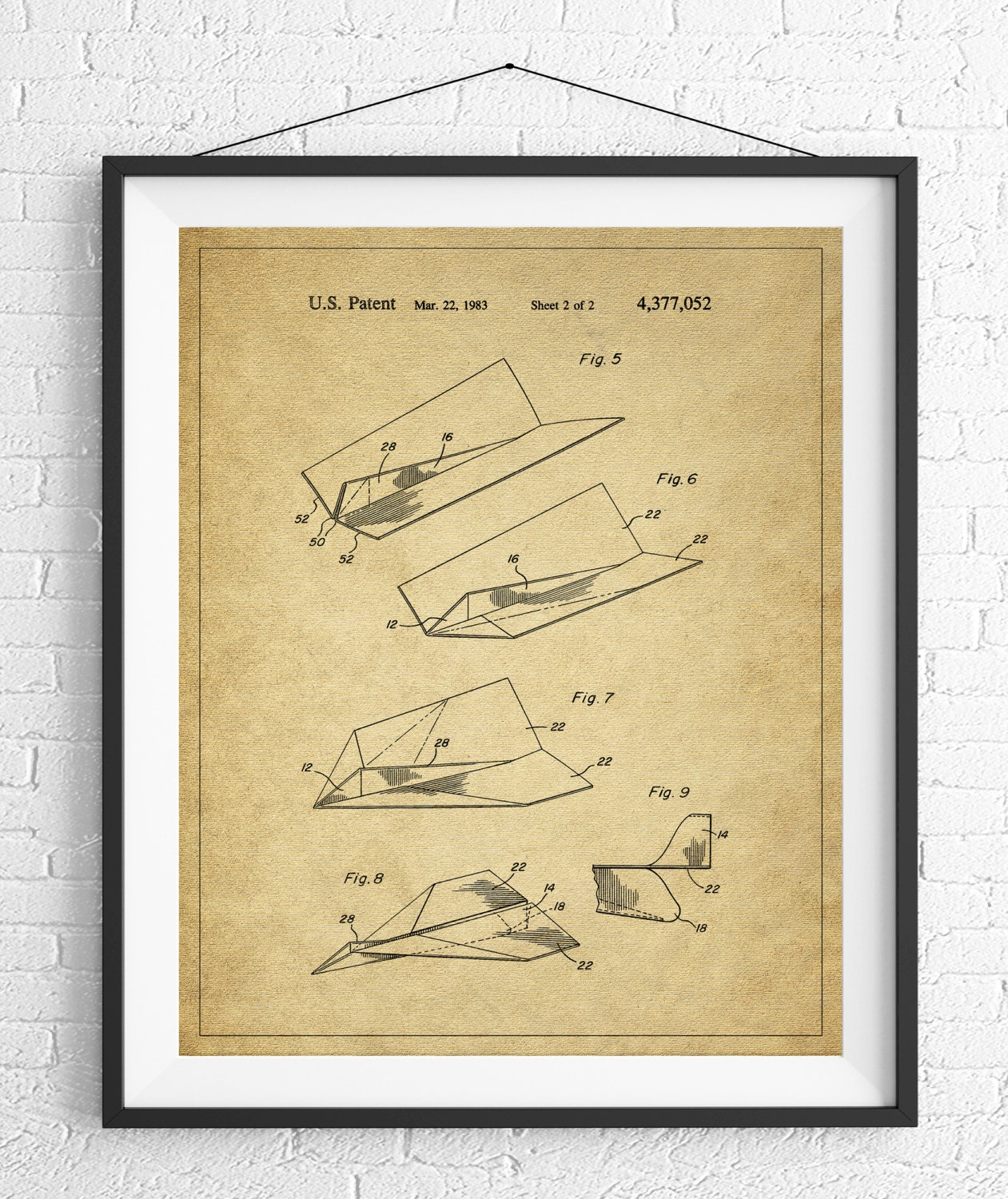 Paper Airplane Patent Print, Game Room Art, Office Wall Art ...