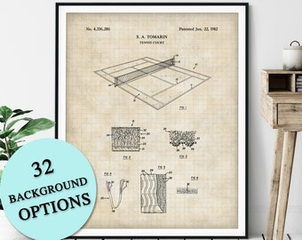 Tennis Court Patent Print - Customizable Tennis Blueprint Plan, Tennis Player Gift, Tennis Art Poster, Home Gym Wall Decor, Game Room Art