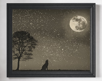 Wolf Art Print - Wolf Painting, Fantasy Painting, Wolf Art, Fantasy Art, Howling Wolf Wall Art, Moon Print, Moon and Stars Decor, Gift Ideas