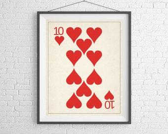 Playing Card Art, Playing Cards Print, Game Room Decor, Game Room Art, Poker Gifts, Gambling Gift, Office Art, Man Cave Art, Bar Decor