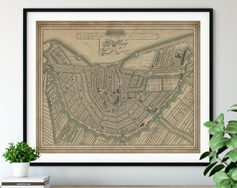 1835 Amsterdam Map Print, Vintage Map Art, Antique Map, Wall Art, History Gift, Old Maps, Netherlands Map, Amsterdam Art, Amsterdam Print