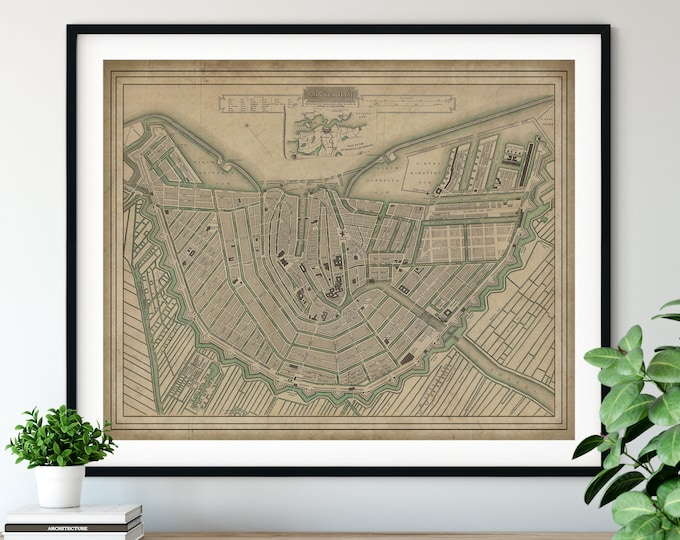 Featured listing image: 1835 Amsterdam Map Print, Vintage Map Art, Antique Map, Wall Art, History Gift, Old Maps, Netherlands Map, Amsterdam Art, Amsterdam Print