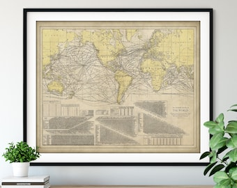 1924 World Steamship Route Map Print - Vintage Map Art, Antique Map Wall Art, Old Map Poster, Sailing Gift, Steamboat Nautical Chart Steamer