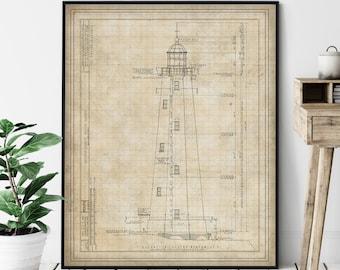 Sandy Hook Lighthouse Elevation Print - Lighthouse Art, Architectural Drawing, Nautical Wall Decor, Coastal Print, Jersey Shore Print, Gift