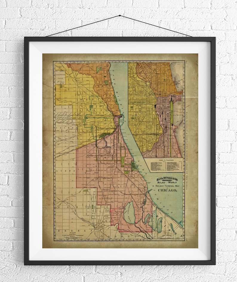 Chicago Railway Map Print, Vintage Map Art, Antique Map Wall Decor, on chicago illinois map, chicago road map with numbers, chicago map vintage, chicago wall murals, chicago sculpture wall colors, chicago map wallpaper, chicago street block numbers, chicago neighborhood map, chicago state map, chicago map fabric, chicago map glass, chicago map design, chicago map canvas, chicago skyline 2014, chicago wall decor, chicago black, chicago street map, chicago metro map, chicago map artwork, chicago map coasters,