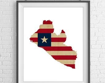 Liberia Flag Map Print, Liberia Poster, Liberia Map, Liberia Silhouette, Liberia Wall Art, Map of Liberia Print, African Gifts, African Art