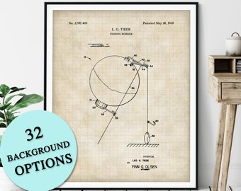 Fishing Bobber Patent Print - Customizable Fishing Float Blueprint Plan, Fisherman Gift, Gifts for Dad, Fisher Poster, Fish Angling Wall Art