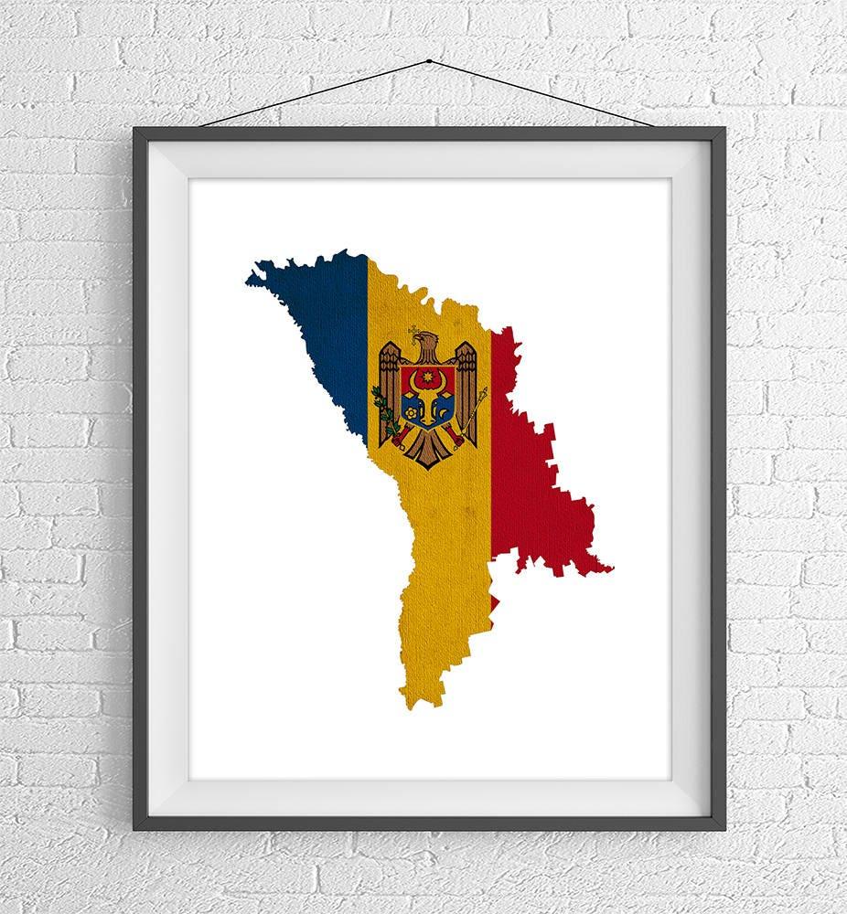 Moldova Flag Map Print, Moldova Map, Moldova Silhouette Art