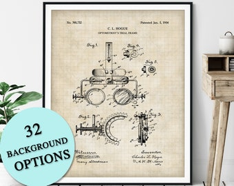 Optometrists Trial Frame Patent Print - Customizable Blueprint Plan, Eye Doctor Gift, Ophthalmologist, Optician Clinic Wall Decor, Lens