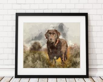 Chocolate Lab Watercolor Print - Chocolate Lab Painting Dog Watercolor Painting Watercolor Art Print Home Decor Dog Wall Art Dog Lover Gift