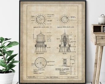Point Reyes Lighthouse Elevation Print - Lighthouse Art, Architectural Drawing, Nautical Wall Decor, Coastal Print, National Seashore, Gift