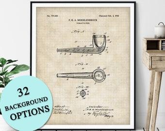 Tobacco Pipe Patent Print - Customizable Blueprint Plan, Pipe Print, Pipe Smoker Gift, Poster, Pipe Art, Smoking Wall Art, Gifts for Him