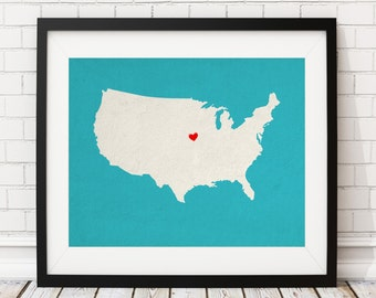 Custom United States Silhouette, Customized US Map Art, Personalized Gift, Heart Map of USA, United States Map, State, America Map Print